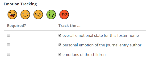 emotion tracking setup options